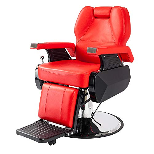 Mefeir Reclining Barber Chair All Purpose for Hair Stylist Tattoo, Heavy Duty Styling Chair with 360 Degree Swivel Hydraulic Pump, Beauty Salon Spa Shampoo Equipment Red