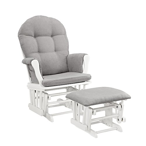 Windsor Glider and Ottoman, White with Gray Cushion