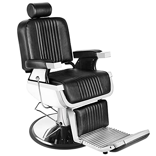 Barber Chair Reclining Hydraulic Barber Chairs Heavy Duty Styling Chairs for Salon Chair Tattoo Chair Beauty Equipment (Black)