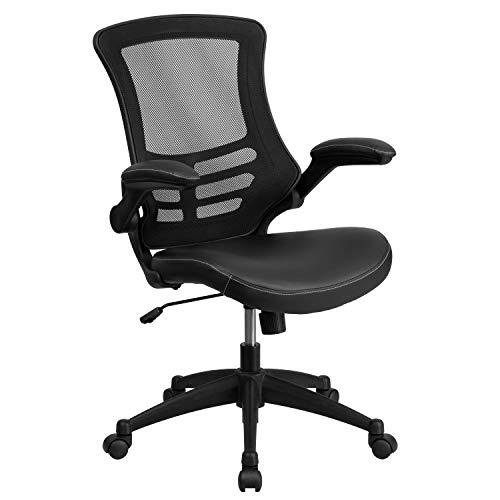 Flash Furniture Mid Back Swivel Leather Padded Flip Up