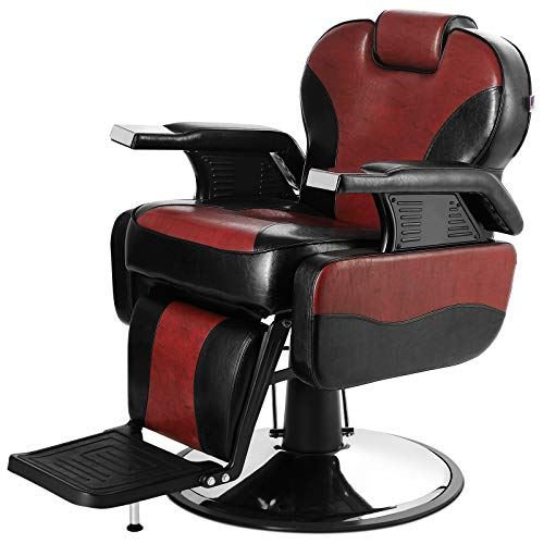 Artist Hand Barber Chair Hydraulic Reclining - Red and Black