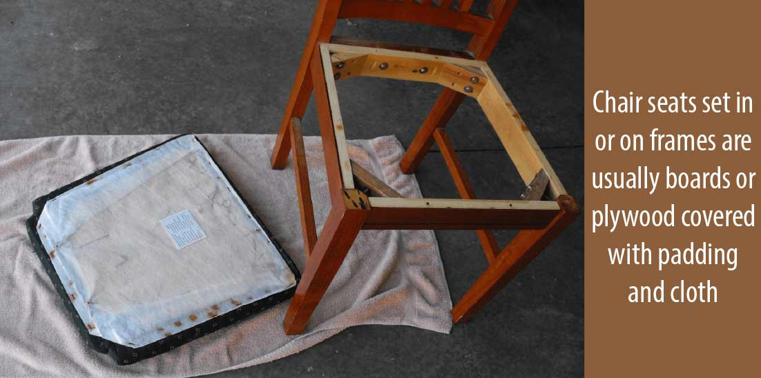 Chair seats are normally plywood or boards covered with clothes or padding