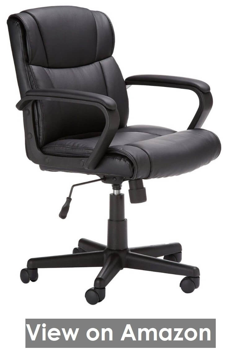 AmazonBasics Leather Padded Mid Back Office Chair